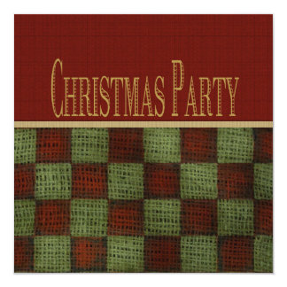 Rustic Homespun Christmas Party 13 Cm X 13 Cm Square Invitation Card