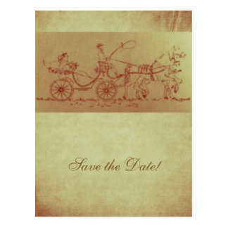 Rustic horse and carriage vintage look wedding postcard