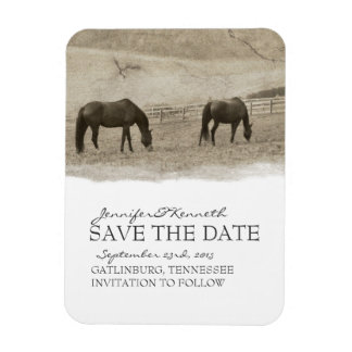 Rustic Horse Farm Save The Date Rectangular Photo Magnet