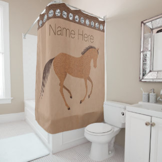 Rustic Horse Faux Leather Bath And Home Silver Shower Curtain