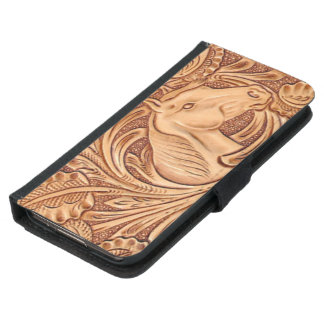 Rustic Horse pattern tooled leather Samsung Galaxy S5 Wallet Case