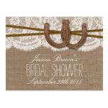 Rustic Horseshoes Bridal Shower Recipe Cards Postcard