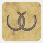 Rustic Horseshoes Distressed BG envelope seals Square Sticker