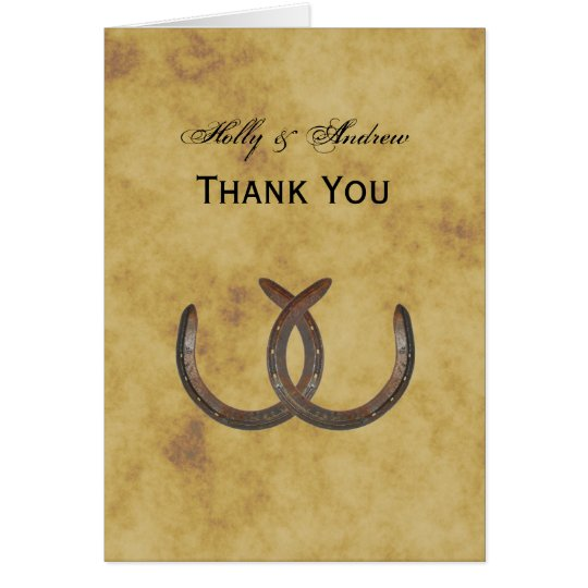 Rustic Horseshoes Distressed BG Thank You Card