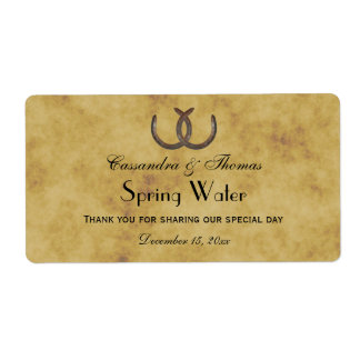 Rustic Horseshoes Distressed BG Water Label Shipping Label