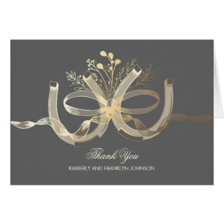 Rustic Horseshoes Gold Country Wedding Thank You Card