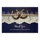Rustic Horseshoes Lace Wood Navy Wedding Thank You Card