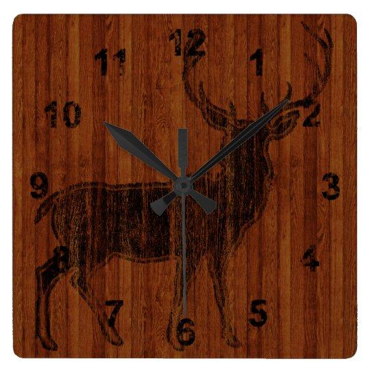 Rustic Hot Branded Deer Image in wood Clocks