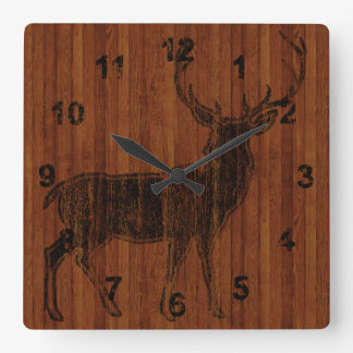 Rustic Hot Branded Deer Image in wood Square Wall Clock