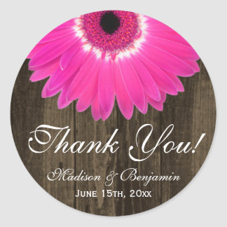 Rustic Hot Pink Daisy Wedding Thank You Sticker