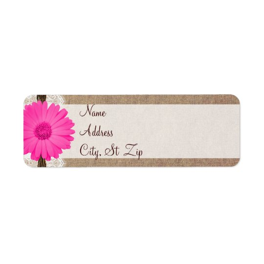 Rustic Hot Pink Gerber Daisy Return Address Labels