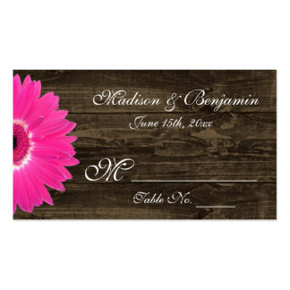 Rustic Hot Pink Gerber Daisy Wedding Place Cards Business Card