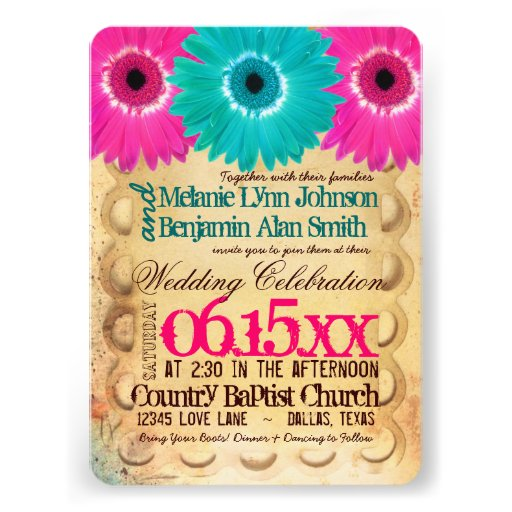Rustic Hot Pink Teal Daisies Wedding Invitations Custom Invitations