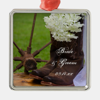 Rustic Hydrangea and Cowboy Boots Country Wedding Christmas Ornament