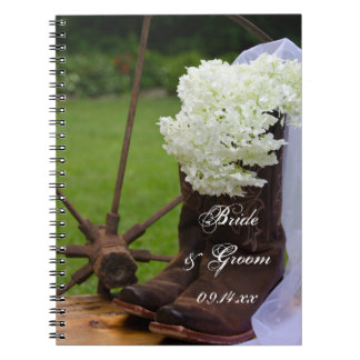 Rustic Hydrangea and Cowboy Boots Western Wedding Notebook