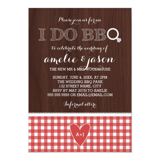 Rustic I Do BBQ Red Gingham Post Wedding
