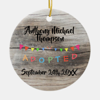 Rustic I was Adopted -Banners Custom Name-Date Christmas Ornament