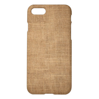 Rustic iPhone 7 Case with brown canvas
