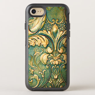 Rustic Irish Green Dyed Carve Wood Leaves OtterBox Symmetry iPhone 8/7 Case