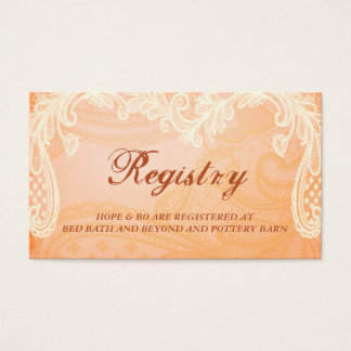 Rustic Ivory Lace Wedding Registry Card