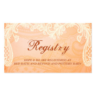Rustic Ivory Lace Wedding Registry Card Pack Of Standard Business Cards