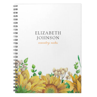 Rustic journal. Watercolor sunflowers. Country Spiral Notebook