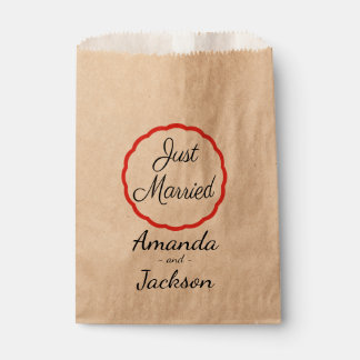 Rustic Just Married Black Wedding Announcement Favour Bags