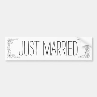 Rustic Just Married bumper sticker
