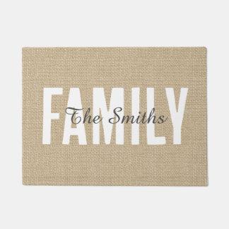 Rustic Jute Tan Burlap Family Monogram Doormat