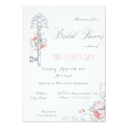 Rustic Key and Floral Bridal Shower Invitation