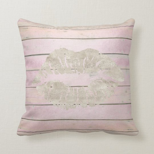 Rustic Kiss Lips Cottage Grungy Wood Pink Throw