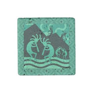 Rustic Kokopelli Southwest Turquoise Stone Magnet