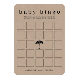 Rustic Kraft Baby Shower Double-Sided Game Card 13 Cm X 18 Cm Invitation Card