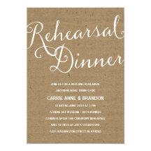 Rustic Kraft | Calligraphy Rehearsal Dinner 5x7 Paper Invitation Card