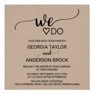 "Rustic Kraft Calligraphy ""We Do"" Square Wedding Card"