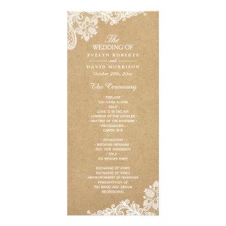 Rustic Kraft Classy White Lace Wedding Program Custom Rack Card