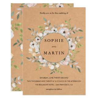Rustic Kraft & Floral Bouquet | Elegant Wedding Card