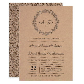 Rustic Kraft Floral Wreath Wedding Invitation