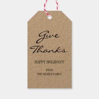 Rustic Kraft Give Thanks Thanksgiving Gift Tags