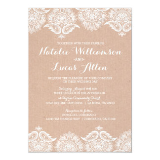 Rustic Kraft Lace Wedding Invitation Invitations
