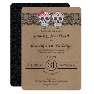 Rustic Kraft & LaceSugar Skull Wedding Invitations