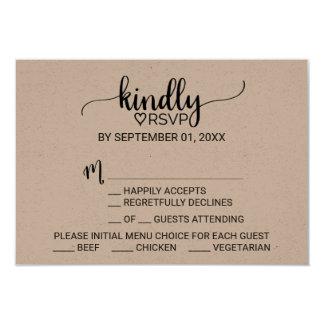 Rustic Kraft Modern Calligraphy Menu Choice RSVP 9 Cm X 13 Cm Invitation Card
