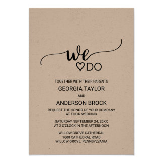 "Rustic Kraft Modern Calligraphy ""We Do"" Wedding Card"