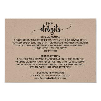 Rustic Kraft Modern Calligraphy Wedding Details Card