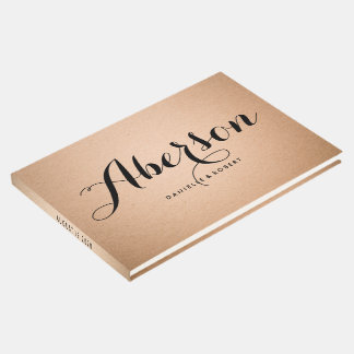 Rustic Kraft Modern Script Wedding Guest Book