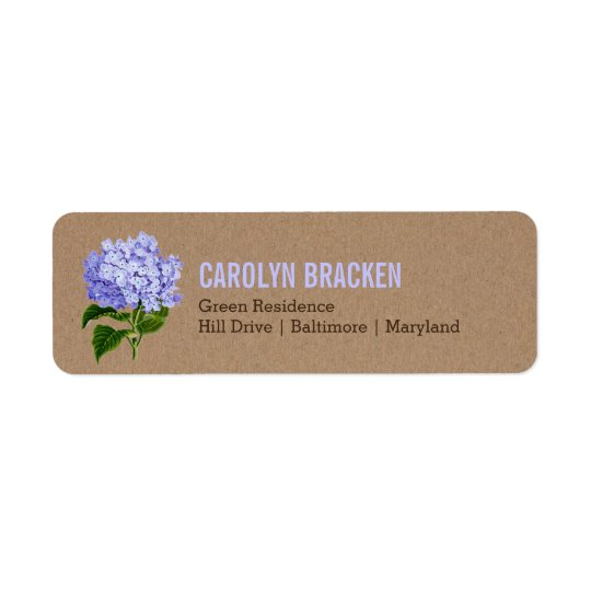 Rustic Kraft Paper Blue Hydrangea Floral Wedding Return Address Label