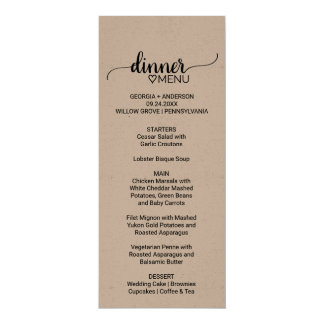 Rustic Kraft Paper Calligraphy Wedding Dinner Menu Card