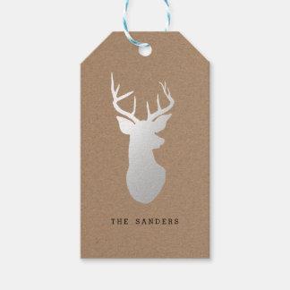 Rustic Kraft Paper Christmas Silver Reindeer Gift Tags