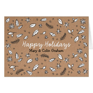 Rustic Kraft Paper Doodle Holiday Card