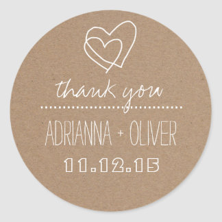 Rustic Kraft Paper| Heart Wedding Thank You Classic Round Sticker
